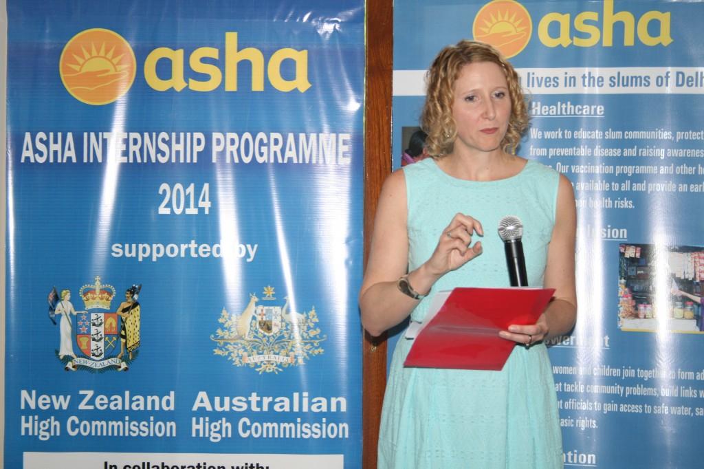 Internship and Mentorship Coordinator, Ms Liz Peak briefing the employers