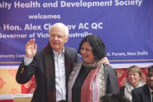 Hon Alex Chernov, Governor of Victoria, Australia with Dr Kiran during his visit to Kanak Durga slum colony