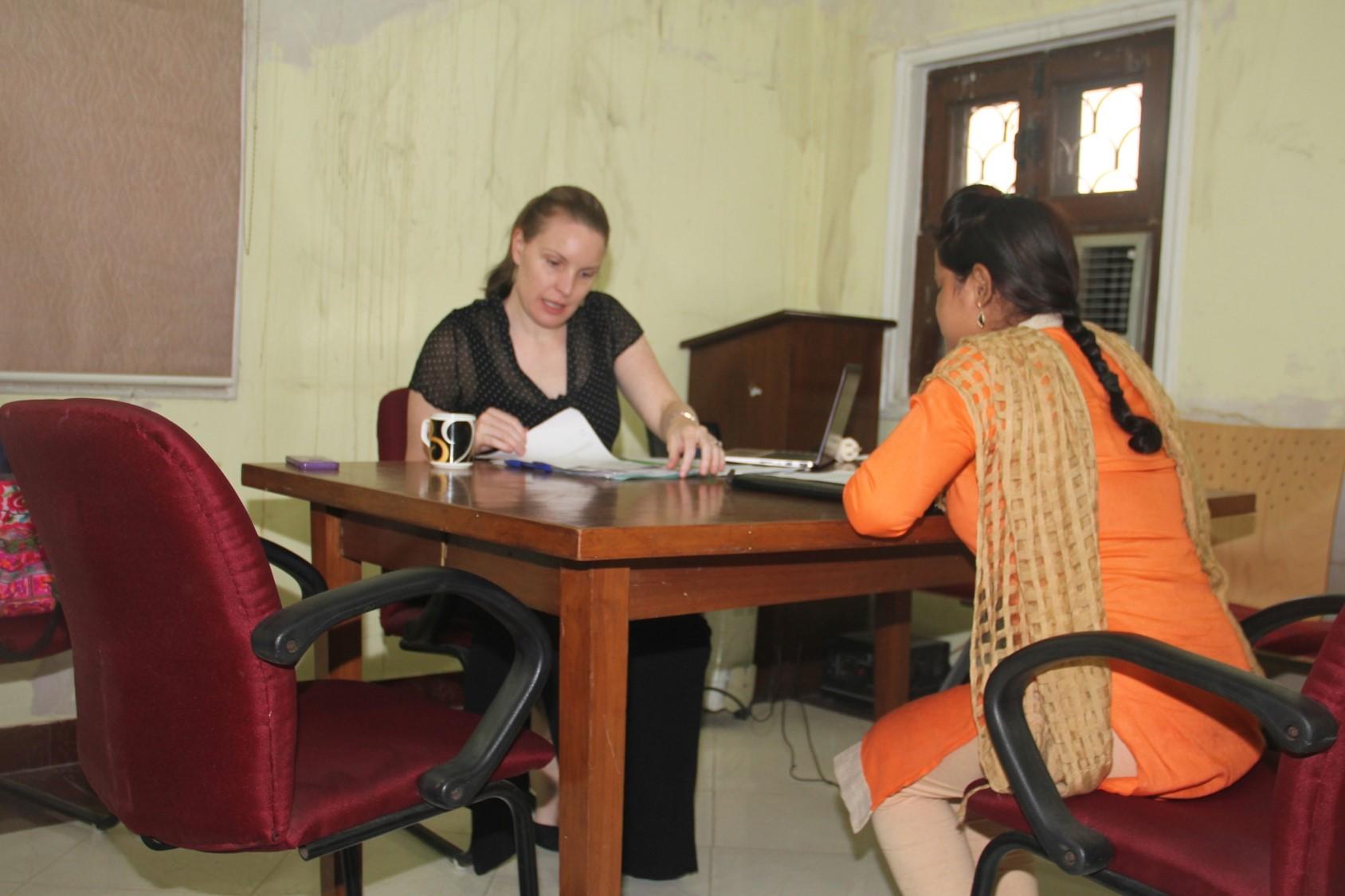 Asha Volunteer, Kimberley conducting the interview