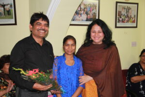 Dr Kiran with Asha High School Topper Madhu