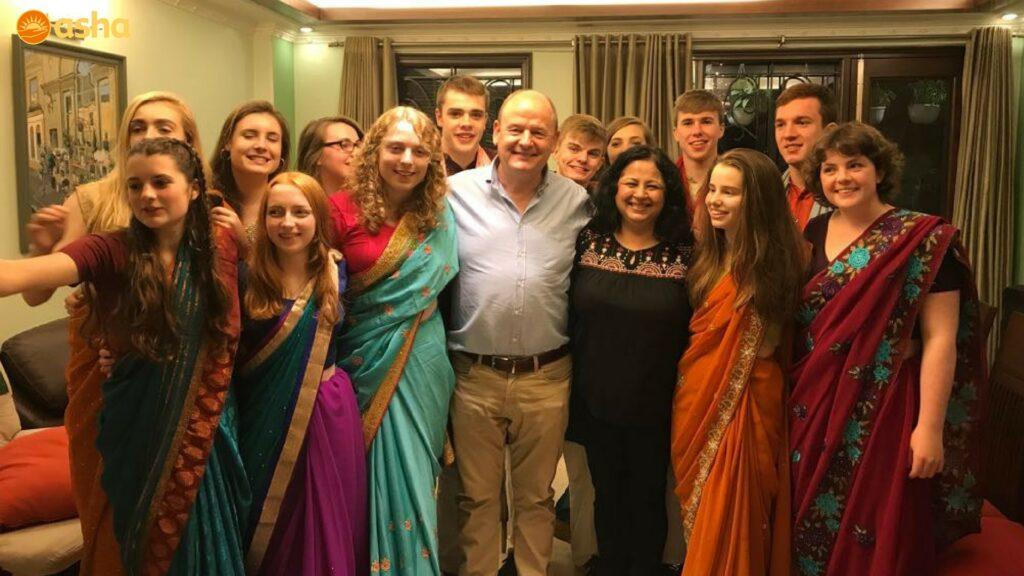 The team at Dr Kiran Martin's house for farewell dinner