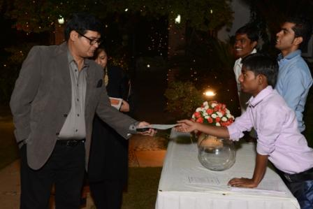 Asha student ambassadors interact with guests at the event