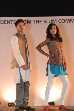 Asha students Rahul and Pooja during the fashion show
