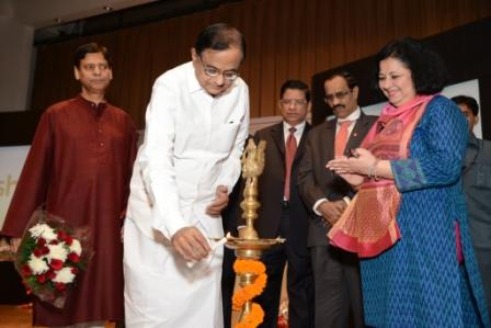 Shri P Chidambaram lights the inaugural lamp