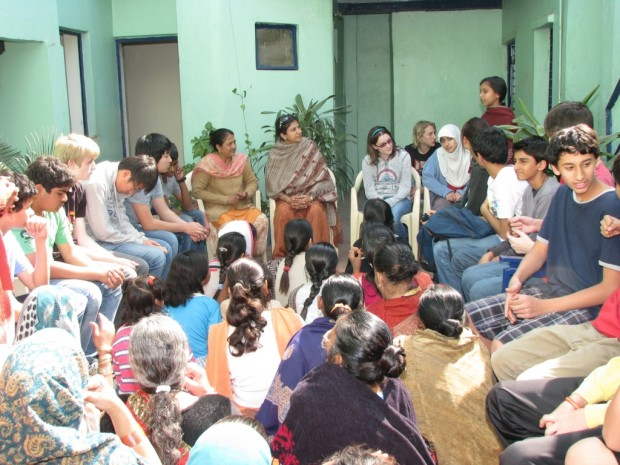 A Group of Students and Teachers from American Embassy School visits an Asha slum