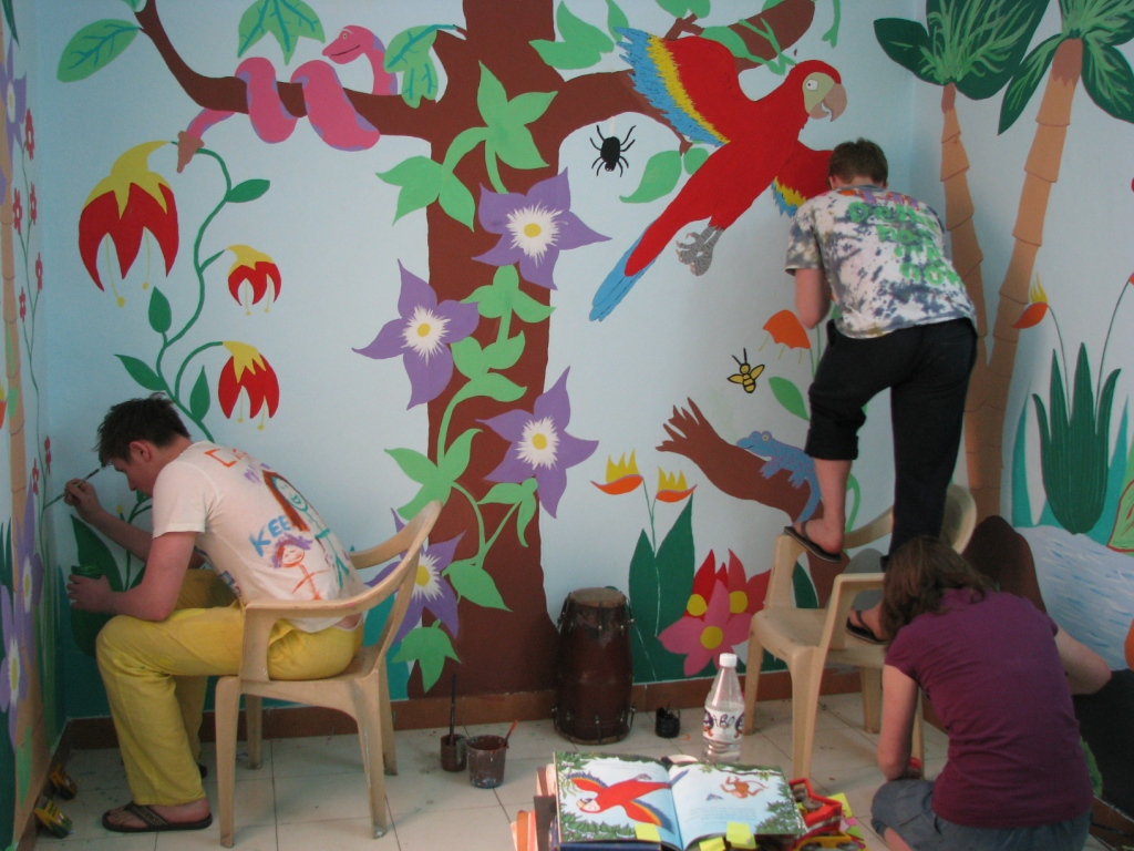 Members of the Methody team painting our Kalkaji centre