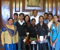 Home Minister of India meets Asha slum children going to Delhi University