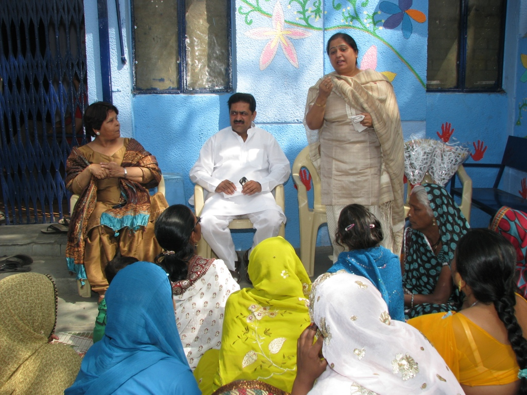 Mamta Joshi,Councillor for Zakhira area addressing an event at Zakhira slum colony