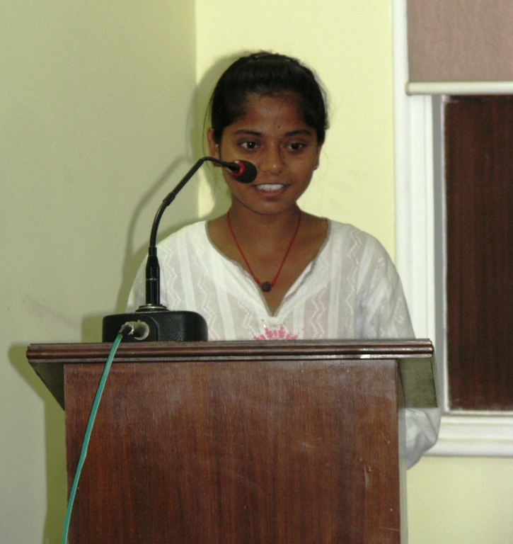 Above: Dimple, a student from an Asha slum expresses her gratitude to Asha staff and shares her story