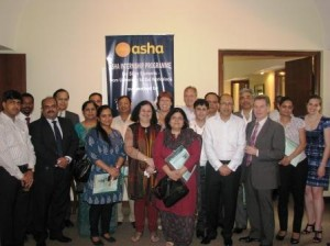 Dr. Kiran with representatives of companies and High Commissions during the launch of Asha's Internship Porgramme in 2012  Australian High Commission, New Zealand High Commission, Canadian High Commission, F1F9, Mazars, Macquarie Group, Rio Tinto, Parson Brinckerhoff, BAE Systems, FICCI, RJ Corp, ASSOCHAM & SMEC