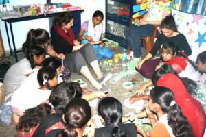 Craft workshop in progress at Kalkaji centre