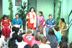 Dr. Kiran facilitates an interaction Asha students and Methodist College team at Kalkaji