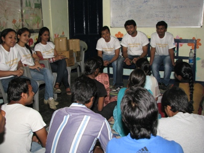 A workshop with college students in progress at our centre Anna Nagar slum colony