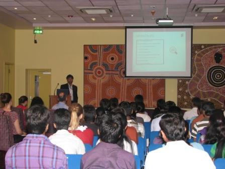 A panelist,  Mr Abbas Rizvi speaking to the students and the mentors present