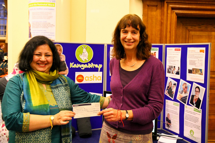During the event, Fair Trade baby carrier KangaWrap presented Asha with a donation of £5,000 towards its maternal and newborn health programme in the slums