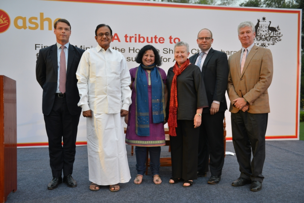 Hon'ble Minister for Finance Mr Chidambaram with Dr Kiran Martin, HE Patrick Suckling, HE Nancy Powell, HE Grahame Morton and HE Stewart Beck at the event