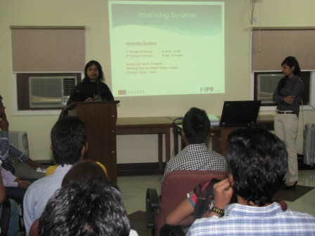 Mala, a representative of F1F9 giving the students an orientation about the programme at the Asha headquarters
