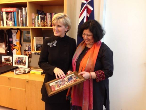 Dr Kiran meets Australian Foreign Minister Ms Julie Bishop