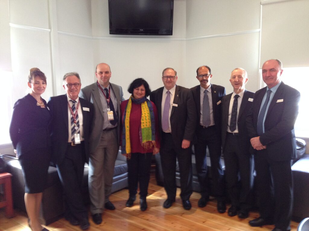 Dr Kiran with Cr. Barry Lyons, Mayor Bendigo, along with other Councillors and Mr Robert Johanson at the lunch reception