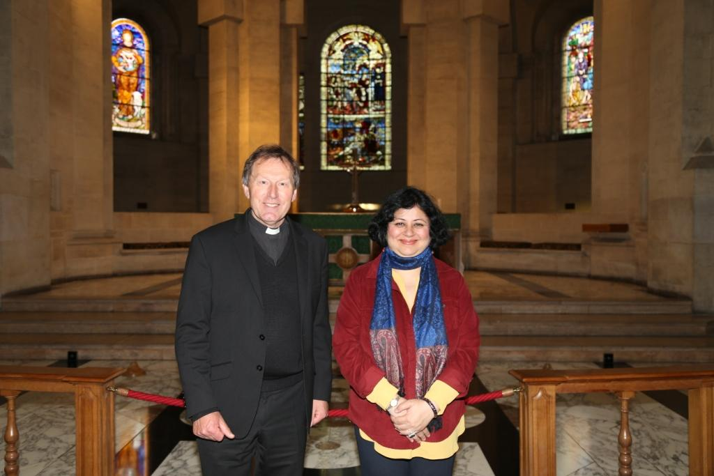 Dr Kiran with the Dean of Belfast Cathedral, Very Rev. John Mann
