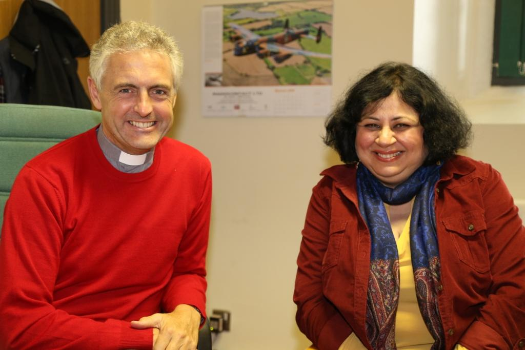 Dr Kiran with Rev Roger Ellis, the Vicar of Holywood Parish, Northern Ireland