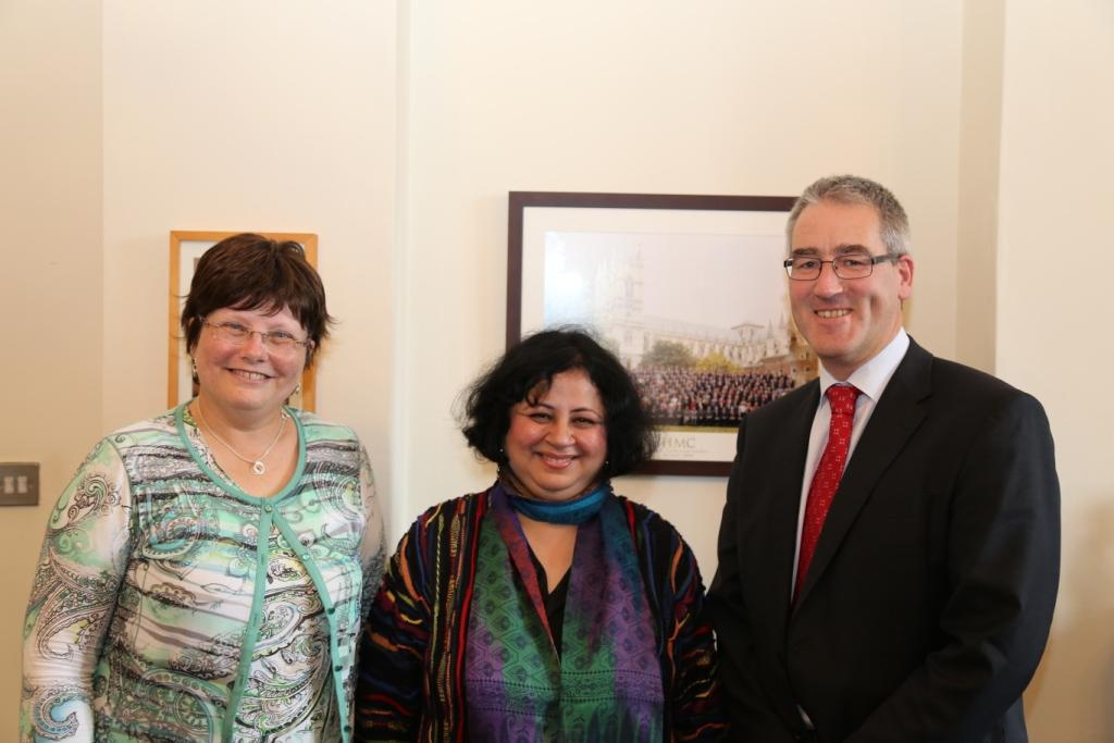 Dr Kiran with Principal of Methodist College, Belfast, Mr Scott Nai Smith and Ms Ruth McKibbin