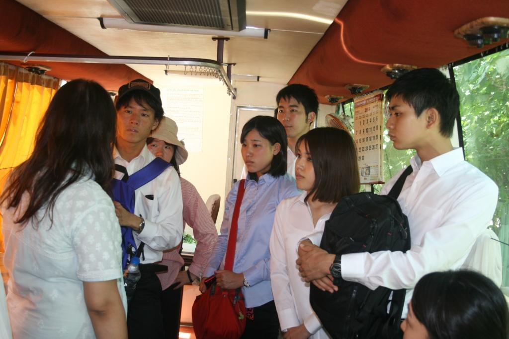 Tokyo University scholars being briefed about the work of Asha in Mobile Health Care Van