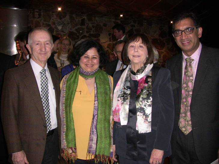 (L-R) Robert Johanson, Chairman Bendigo Bank and Australian Friends of Asha Slums; Dr Kiran Martin;  Anne Rathbone, Owner of Yering Station Winery, and Harish Rao from Friends of Asha Australia at the event.