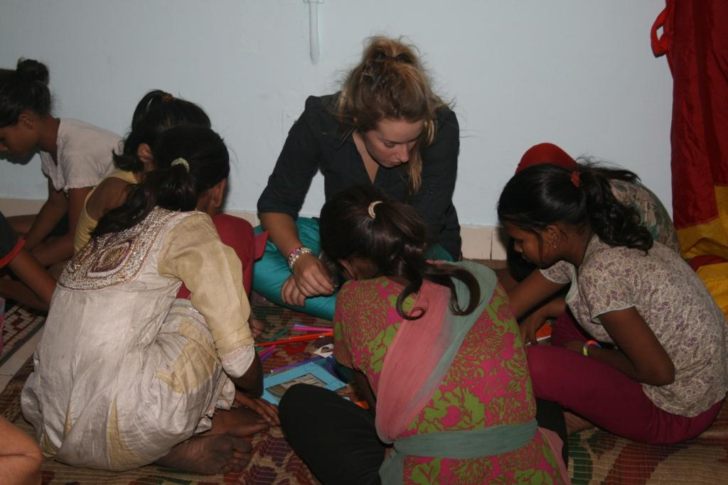 Children participating in the art and craft workshop organised by the team in Mayapuri slum colony
