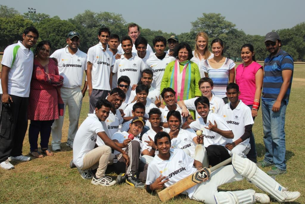 The cricket teams, AHC staff and the Asha team after the match
