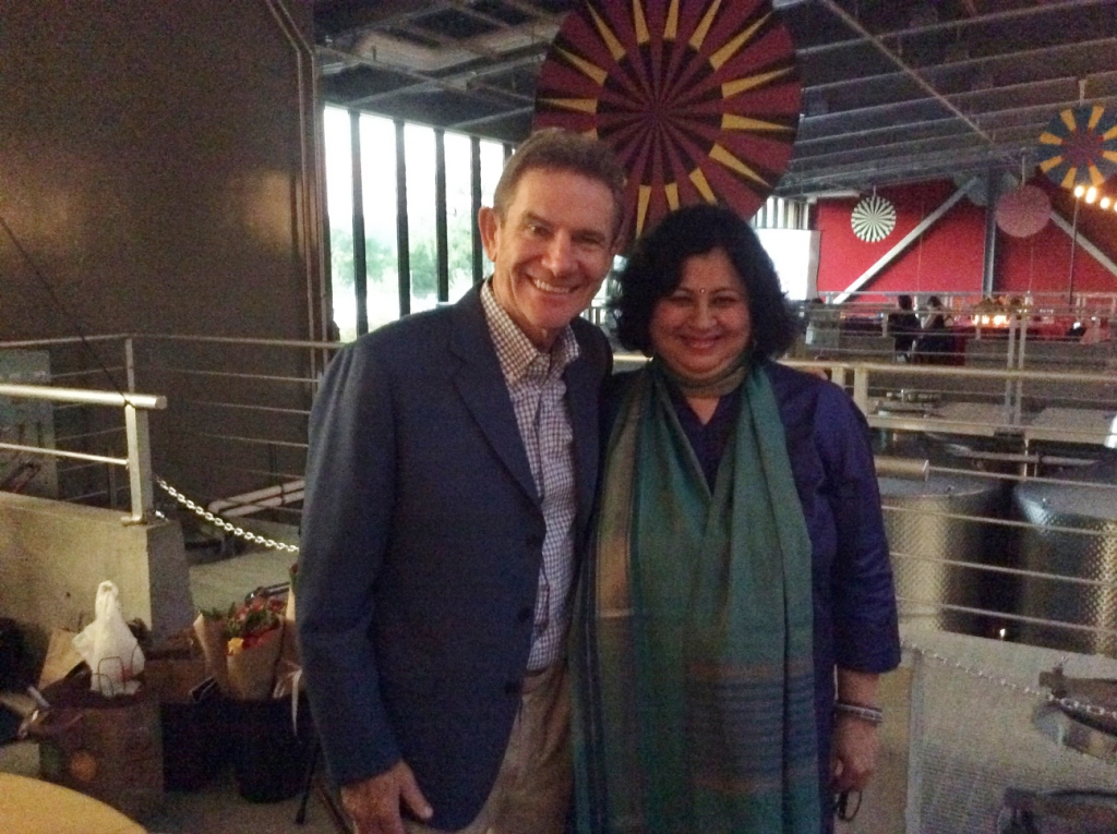 Dr Kiran with Craig Hall, owner of Hall Winery