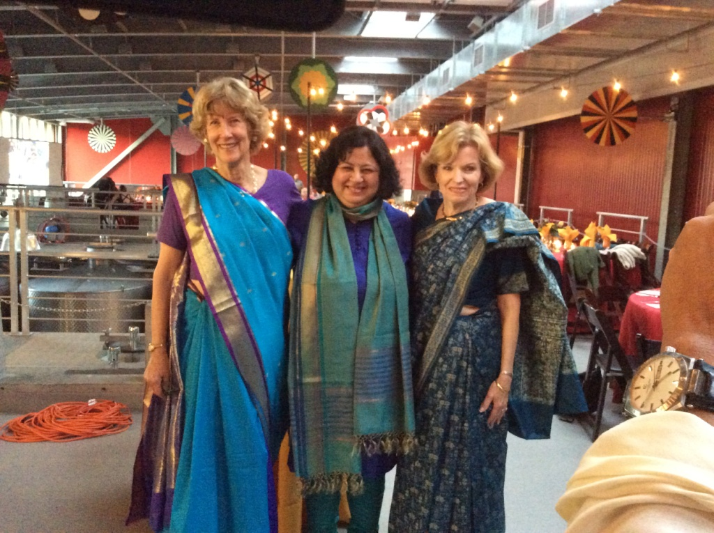 Dr Kiran with Lana Stanley (in bright blue saree on the left) who worked incredibly hard towards the event, assisted by her close friend Sandy Jones (on the right)