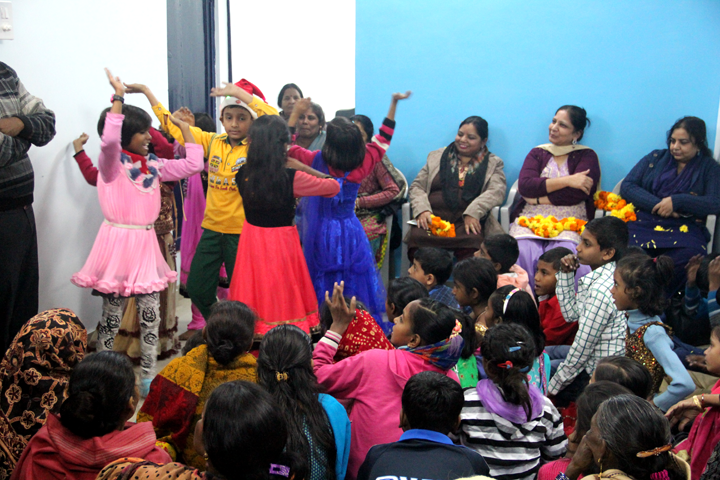 Children from the Bal Mandal dancing to celebrate the occasion