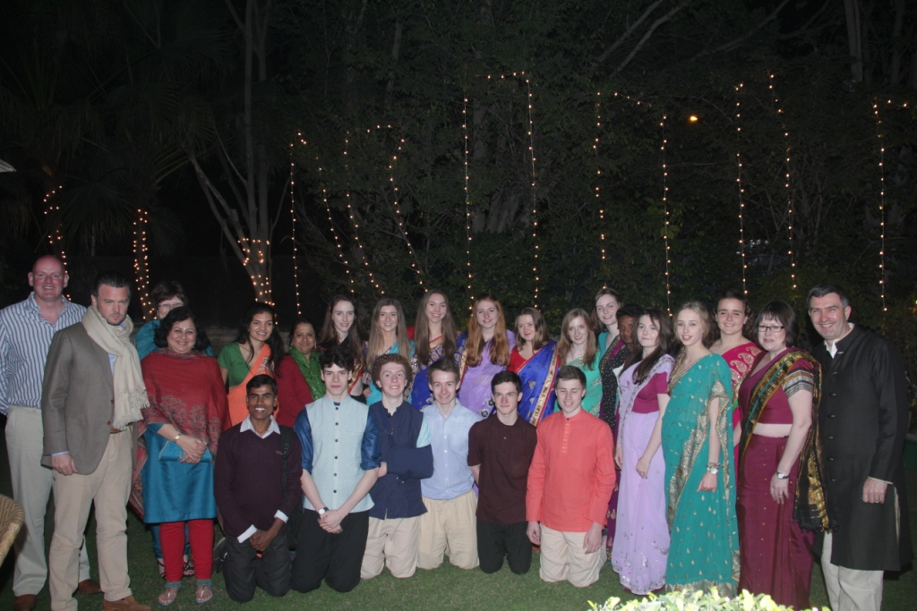 The entire team from Methody, accompanied by Dr Kiran, at HE Feilim McLaughlin's residence