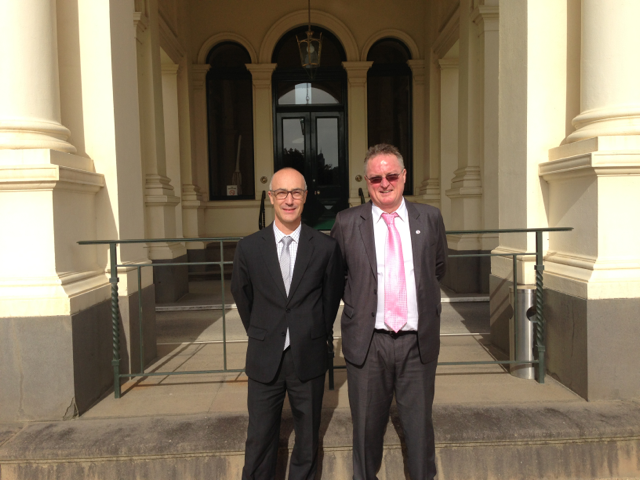 AFOA Board Member Mr Richard Leder with Mr Paul Smith outside the Government House