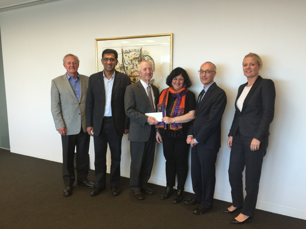 Chairman Robert Johanson and members of the board of Australian Friends of Asha presented Dr Kiran with a cheque for the work of Asha. Heartfelt thanks to all Australian Friends of Asha board membe