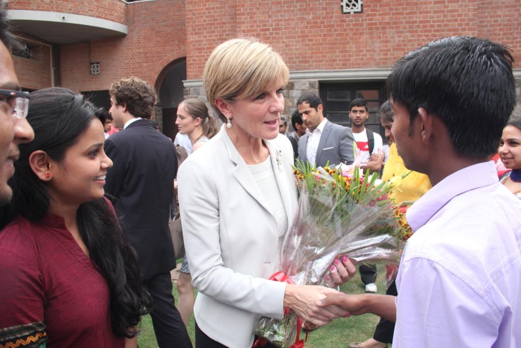 Ms Bishop meeting Asha students