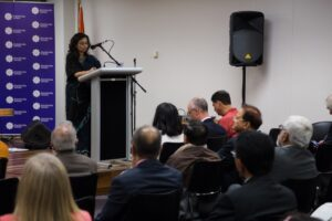 Consul General Ms Manika Jain speaking at the reception