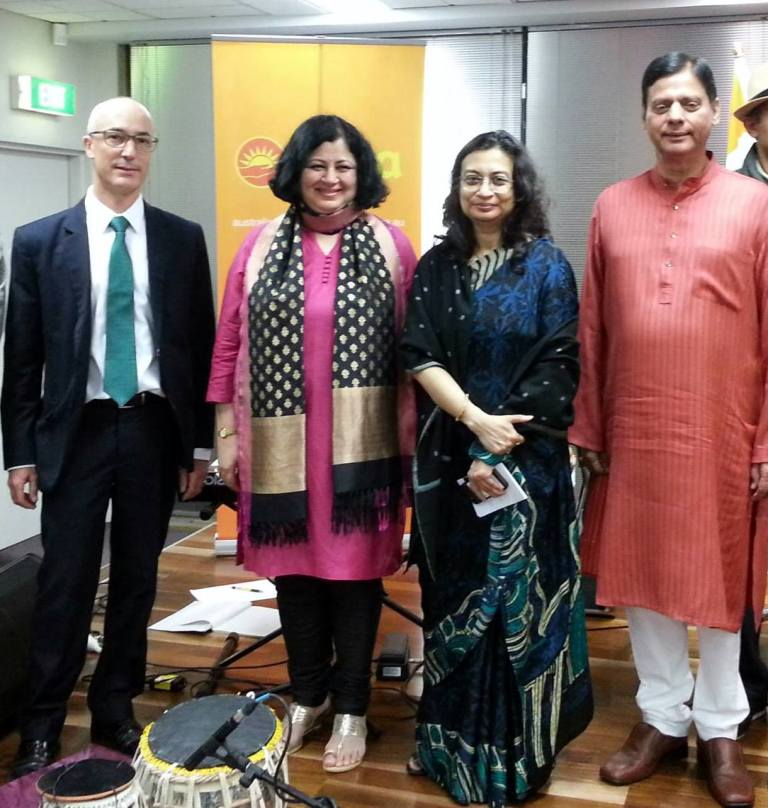 {L- R} Mr Richard Leder, Dr Kiran Martin, Ms Manika Jain and Mr Vinod Kumar at the reception