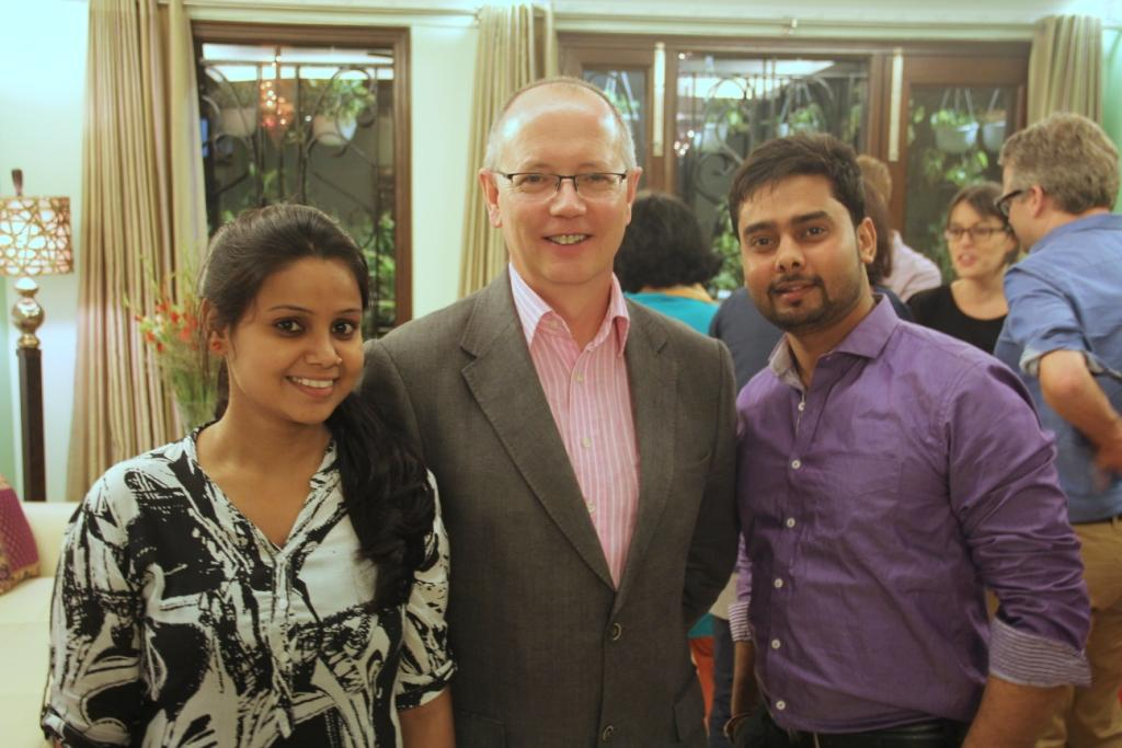 Mark, Jill's husband with Asha students, Usha and Dilip