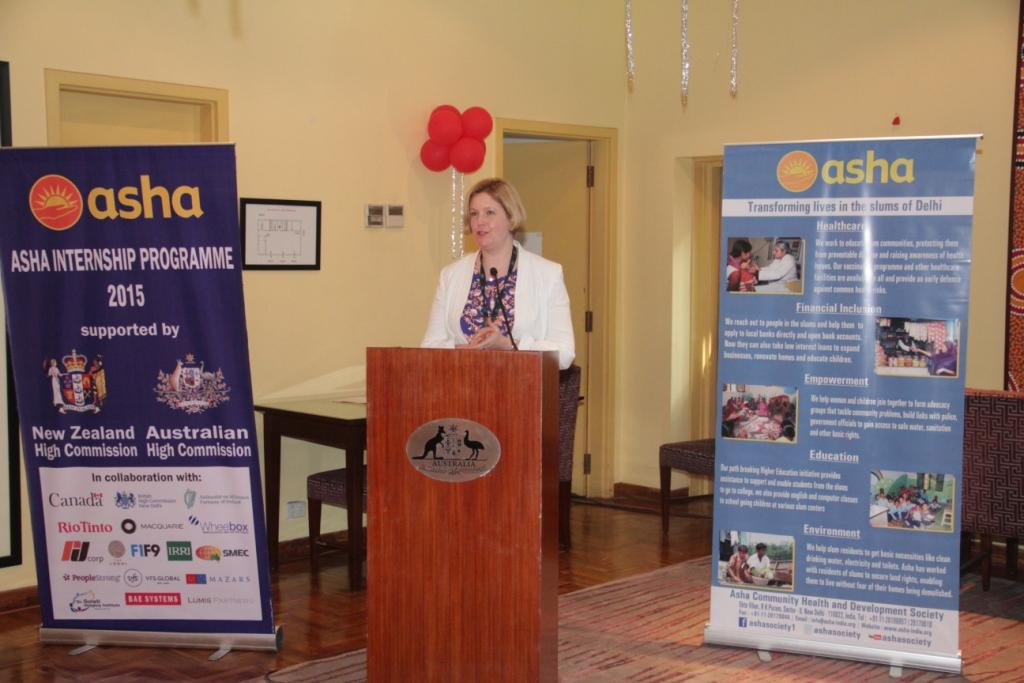 Ms Amanda Day, Counsellor Education, Australian High Commission welcomes all at the internship launch
