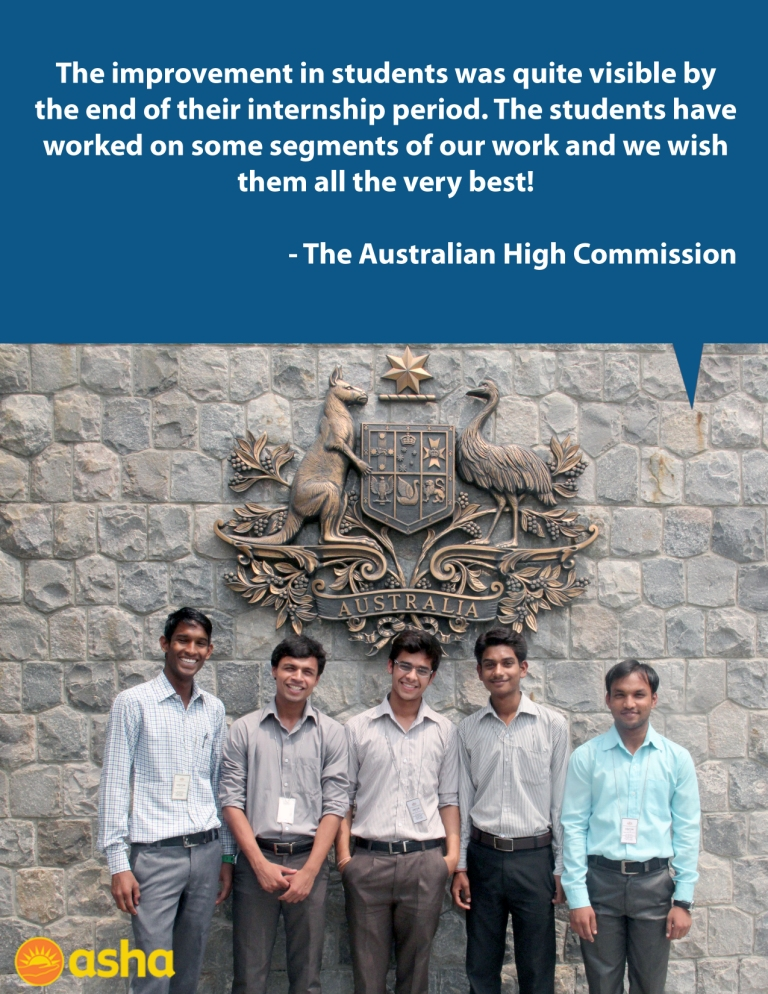 Asha Internship Programme: Asha interns at Australian High Commission
