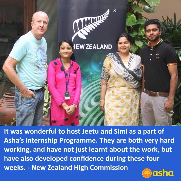Asha Internship Programme: Asha interns at New Zealand High Commission