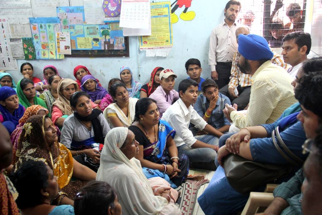 Mayapuri MLA Jagdeep Singh while addressing the Women's Association members