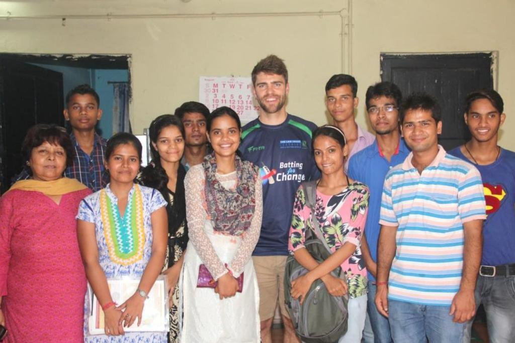 Ryan with Asha students at Mayapuri slum colony