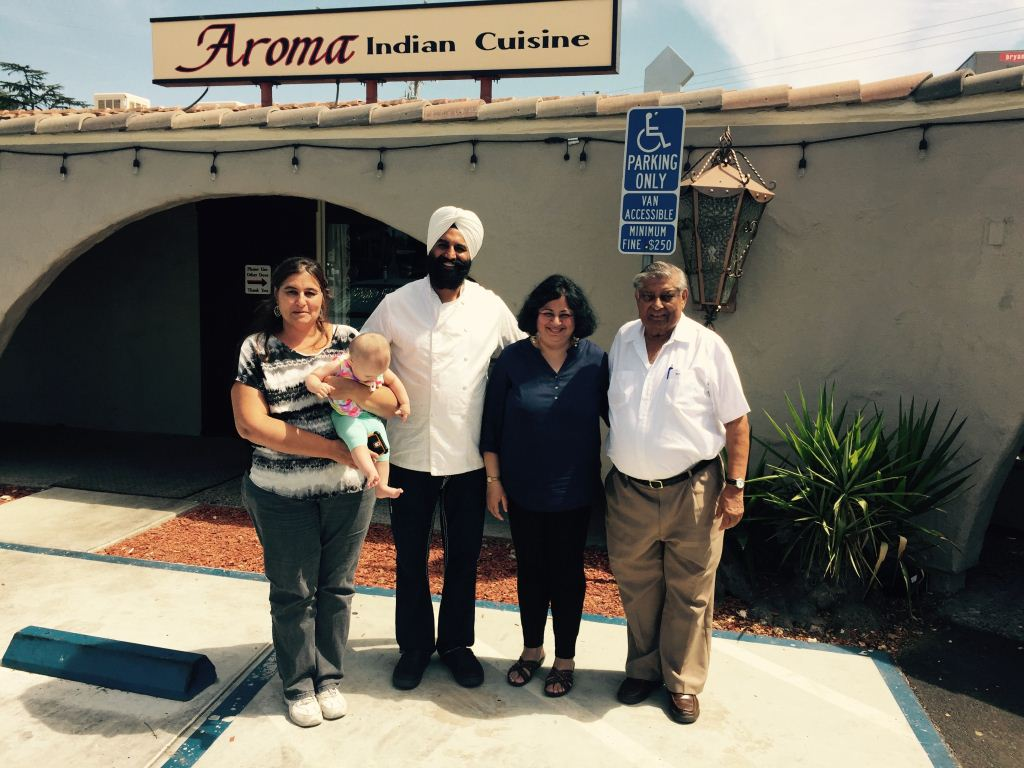 Dr Kiran with Rita, Harjeet and Kailash at Harjeet's Aroma Indian Cuisine