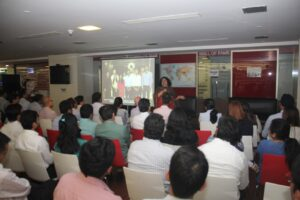Dr Kiran addressing the gathering at Macquarie