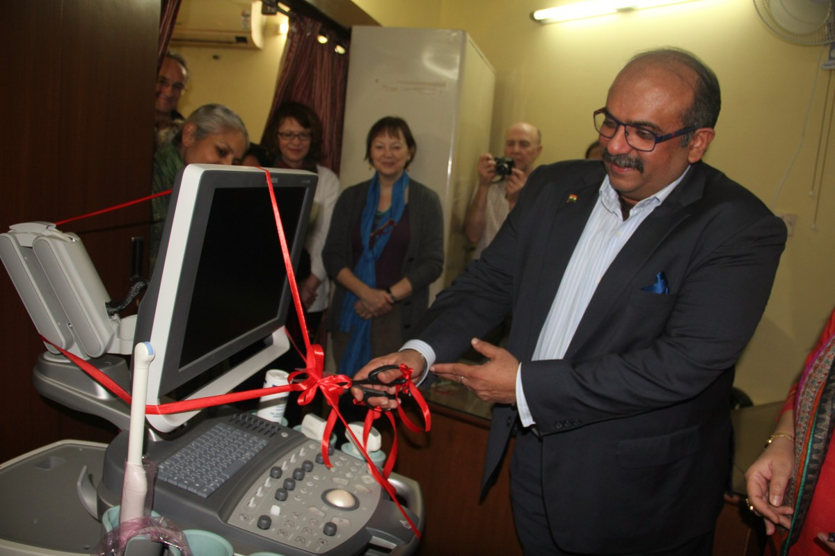 Mr Dhawan inaugurating the colour doppler machine