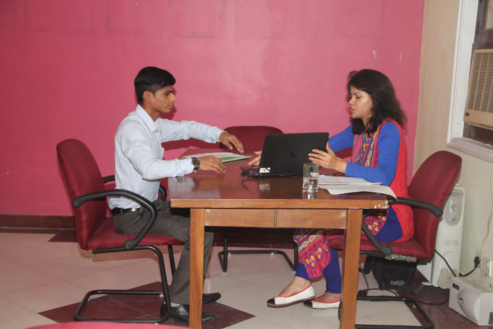 Surbhi with one of the Asha students during the interview