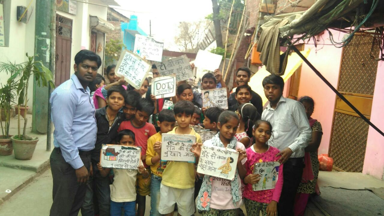 Anna Nagar slum children, with the Asha team